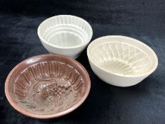 Collection of three ceramic jelly moulds, one with Brownfield makers mark to base