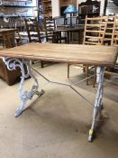 Pub or refectory style table with cast iron white painted base and wooden table top, approx 108cm