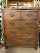 Antique chest of five drawers on bun feet with original handles approx 96cm x 46cm x 112cm tall