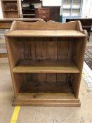 Antique pine shelving unit with three shelves approx 62cm x 77cm x 30cm deep