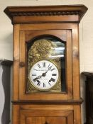 Large French longcase clock by Bretonnel-lavolley with weights and ornate pendulum