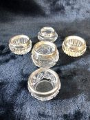 Five assorted Glass salts with Silver hallmarked collars (A/F)