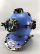 Modern ornamental life size US Navy divers helmet, in pale blue and gunmetal finish, with glass