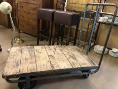 Industrial style vintage metal trolley with wooden slatted base