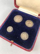 Coins: Four pieces of George V Maundy Money, 1931, 4d. to 1d.. in original red box with blue