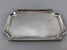 John Somers heavy silver coloured metal tray 26.5 x 17.5cm