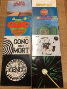 Vinyl: Eight Gong LPs including Flying Teapot, Camembert Electrique (both black & white label UK