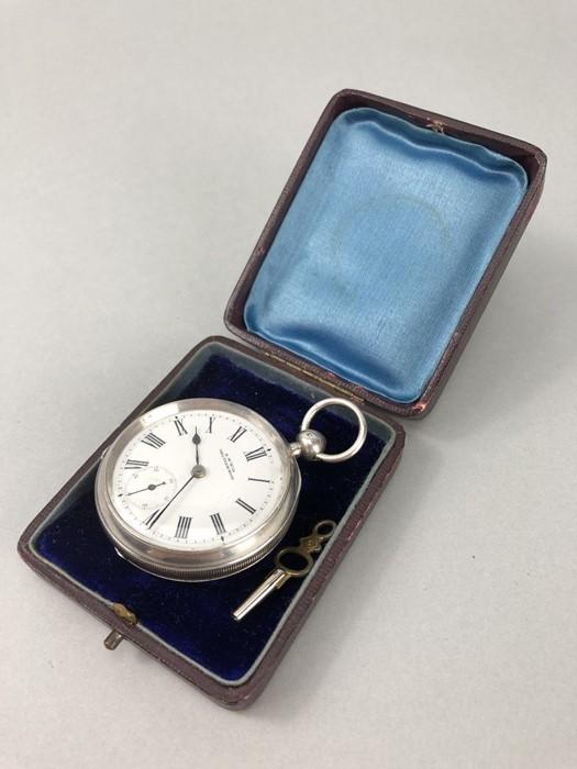 Silver Hallmarked open faced pocket watch marked A.W.W. Co Waltham Mass, hallmarks Birmingham - Image 10 of 11