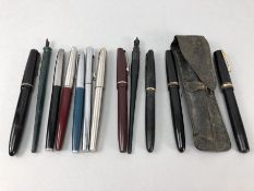 Collection of various fountain pens several with gold nibs