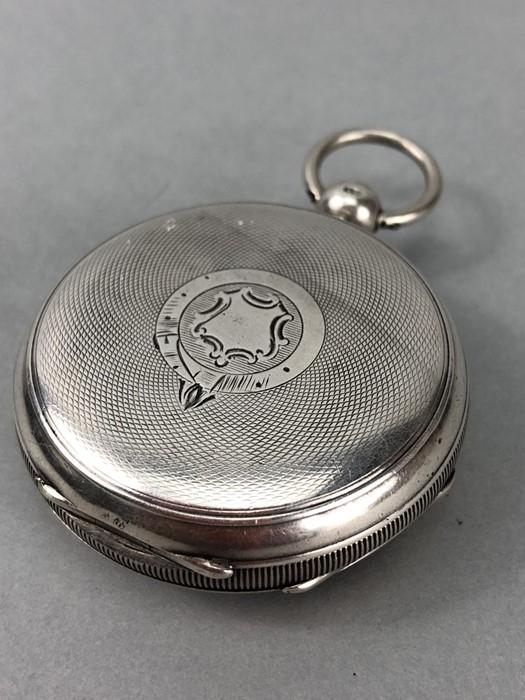 Silver Hallmarked open faced pocket watch marked A.W.W. Co Waltham Mass, hallmarks Birmingham - Image 4 of 11