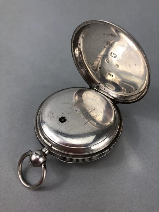 Silver Hallmarked open faced pocket watch marked A.W.W. Co Waltham Mass, hallmarks Birmingham - Image 7 of 11