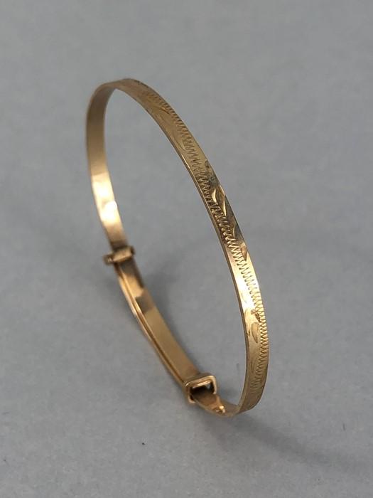 9ct Gold 375 hallmarked Childs Christening bracelet (total weight approx 3g)