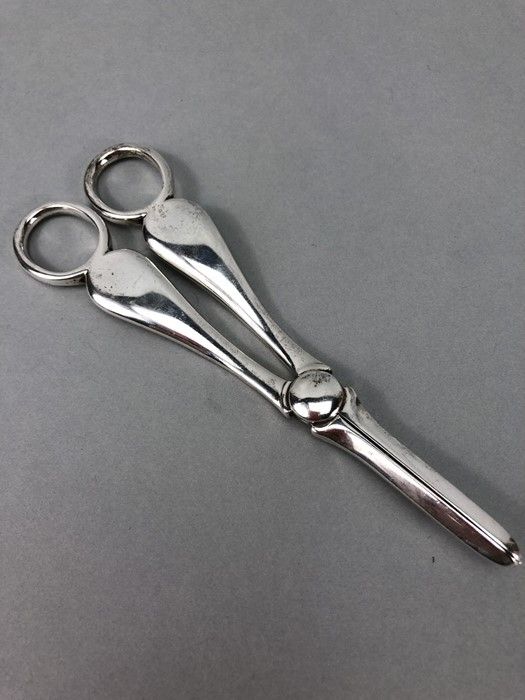 Pair of grape scissors hallmarked for London 1901 by Josiah Williams & Co (George Maudsley Jackson &