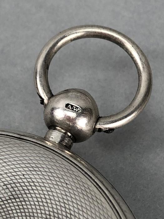 Silver Hallmarked open faced pocket watch marked A.W.W. Co Waltham Mass, hallmarks Birmingham - Image 5 of 11