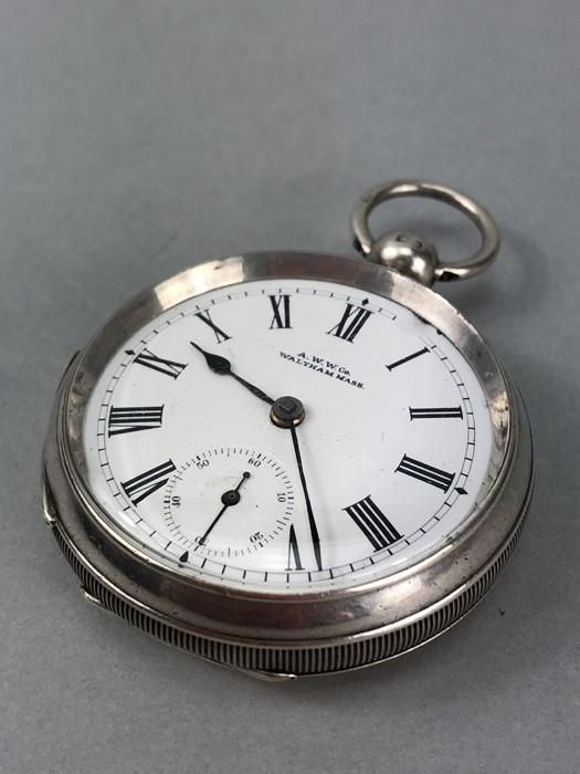 Silver Hallmarked open faced pocket watch marked A.W.W. Co Waltham Mass, hallmarks Birmingham - Image 2 of 11