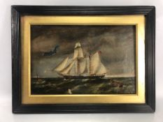 19th Century oil on canvas, English school of a Schooner at sea (very poor condition) A/F