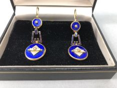 Pair of Art Deco 18ct Gold three section drop earring with delicate white and blue starburst