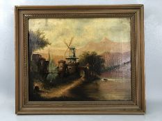 """19th Century Dutch School, oil on canvas, River scene with windmill, Signed lower right (possibly """"J"""