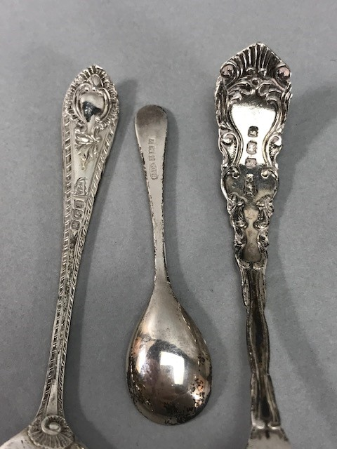 Collection of Hallmarked Silver items to include some Georgian spoons, Sugar nips, salts etc - Image 10 of 14