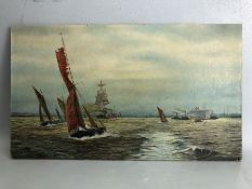 Copy of W.L Wyllie RA, Oil on canvas (stretch over board) unframed of sailing ships approx 32 x