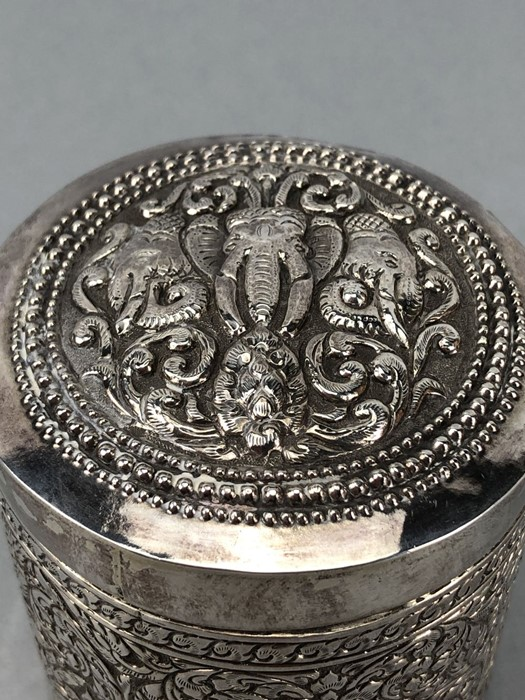 Indian repousse highly decorated pot with Lid approx 9cm tall - Image 3 of 7
