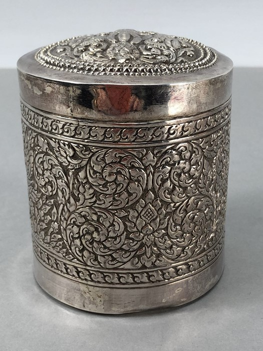 Indian repousse highly decorated pot with Lid approx 9cm tall - Image 4 of 7
