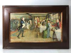 CECIL ALDIN colour print 'The Talbot at Ripley' in oak frame, approx 60.5cm x 34cm (inside frame)