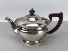 Hallmarked Silver teapot Birmingham by ASPREY of London (total weight approx 424g)