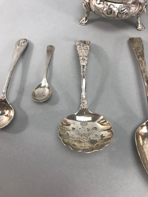 Collection of Hallmarked Silver items to include some Georgian spoons, Sugar nips, salts etc - Image 3 of 14