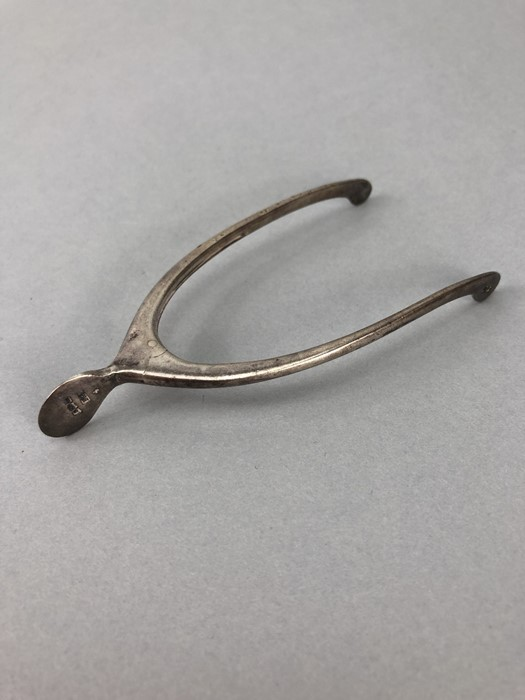 Edwardian Silver hallmarked pincers /sugar nips in the form of a wishbone with sprung hinge