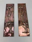 Pair of art nouveau copper finger plates, approx 30cm in height