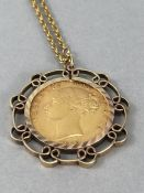 1879 Full Sovereign in unmarked Gold Mount and with unmarked Gold Chain total weight approx 17.2g
