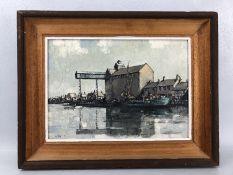 Macfarlane Widdup:The Boat house Blakeney Norfolk original oil on Board, signed approx 34 x 24cm