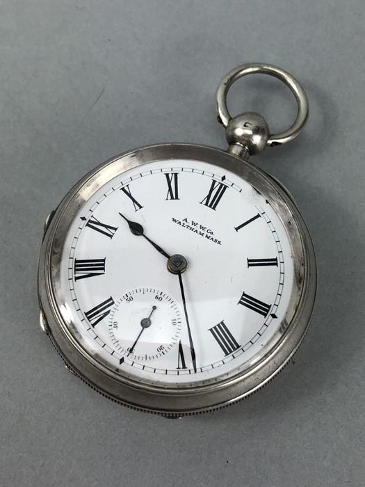 Silver Hallmarked open faced pocket watch marked A.W.W. Co Waltham Mass, hallmarks Birmingham