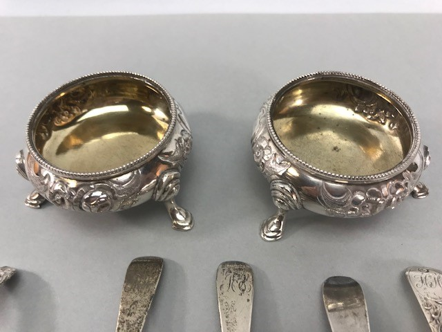 Collection of Hallmarked Silver items to include some Georgian spoons, Sugar nips, salts etc - Image 6 of 14
