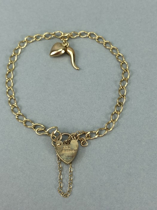 9ct Gold 375 charm bracelet with two charms & 9ct hallmarked Lock approx 3.7g
