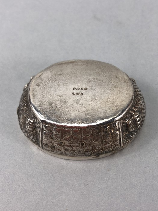 Ornate embossed 900 silver turtle pill box makers mark and T. 900 to base - Image 7 of 8