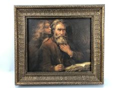 Framed Oil on Canvas of a scholar and a young lady approx 39 x 33cm