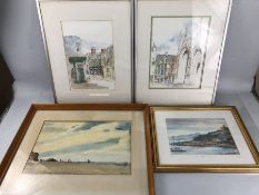 Small collection of framed art to include original watercolours by Neil Embleton and B Stoneley