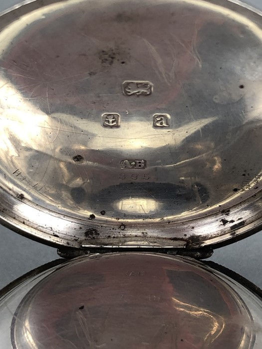 Silver Hallmarked open faced pocket watch marked A.W.W. Co Waltham Mass, hallmarks Birmingham - Image 9 of 11