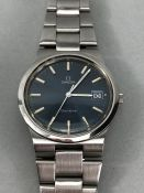 Omega Geneve gentleman's stainless steel wristwatch, the blue dial with silver baton numerals,