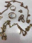 9ct Gold scrap Jewellery to include rings and chains (A/F) approx 16.1g