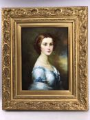 Oil on board, unsigned, of a young lady, approx 29cm x 40cm