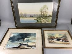 NICK GRANT, watercolour of parkland/lake scene, signed verso 1987, approx 47cm x 29cm, along with