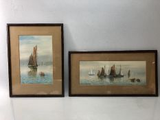 WILLIAM SHEPHERD, two framed watercolours of sailing boats, both signed lower left ,1928, approx