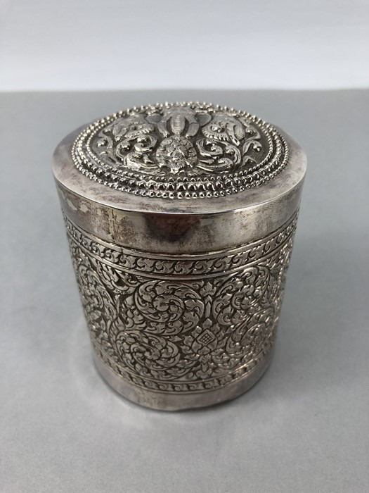 Indian repousse highly decorated pot with Lid approx 9cm tall