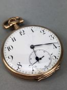 14ct 0.585 Gold open faced pocket watch Arabic numerals and White face (A/F) the inner case marked