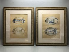 Pair of contemporary framed watercolours of teacups. Approx 45cm x 56cm (including frame)