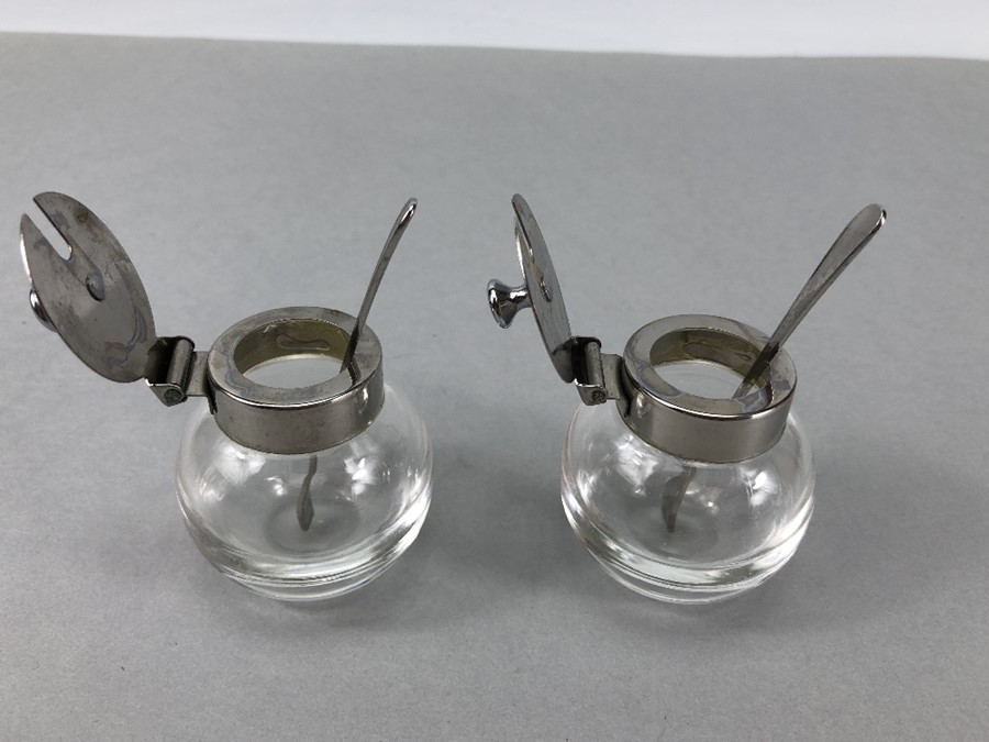 """Pair of circular glass salts with silver coloured lids & Matching spoons marked """"T 18 - 8"""" - Image 4 of 4"""