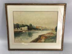 """K Howitt, gilt framed watercolour entitled """"YORK. FROM THE OUSE"""", 36cmx 26cm"""
